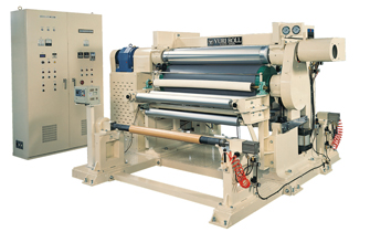 Embossing machine with on-winder and re-wider.